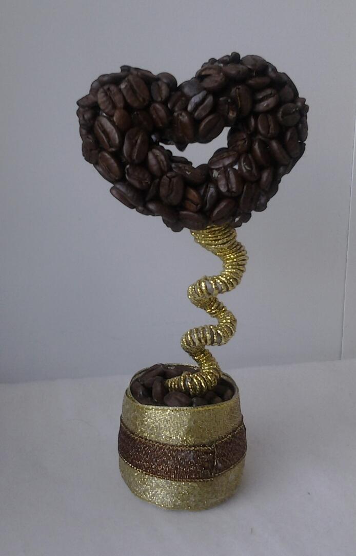 Кофейное мини сердечко высота 16 см